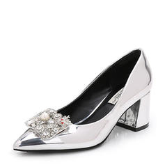 Women's Patent Leather Chunky Heel Pumps Closed Toe With Rhinestone shoes