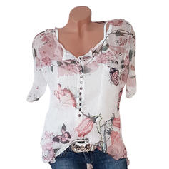 Print Floral V-Neck Short Sleeves Button Up Casual Elegant Blouses