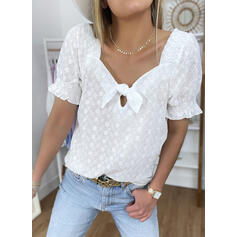 Solid Square Collar Short Sleeves Casual Blouses