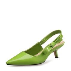 Femmes Cuir verni Talon stiletto Escarpins Bout fermé Escarpins avec Bowknot chaussures