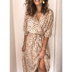 Print/Floral 1/2 Sleeves A-line Wrap/Skater Casual Maxi Dresses
