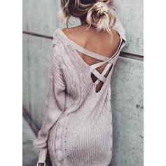 Solid Kabel-strik V-hals Lang Sexet Sweaterkjole