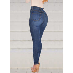 Shirred Plus Size Long Elegant Sexy Skinny Denim & Jeans