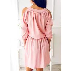 Solid 3/4 Sleeves/Cold Shoulder Sleeve A-line Above Knee Casual/Elegant Dresses