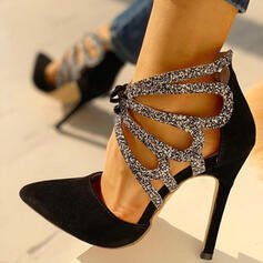 Women's Suede Stiletto Heel Pumps With Rhinestone Lace-up shoes