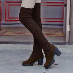 Naisten Mokkanahka Chunky heel Avokkaat Platform Kengät Yli saappaat jossa Muut kengät