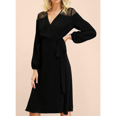 Lace/Solid Long Sleeves A-line Little Black/Casual/Elegant Midi Dresses
