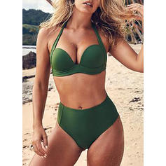 Solid Color High Waist Halter Sexy Bikinis Swimsuits