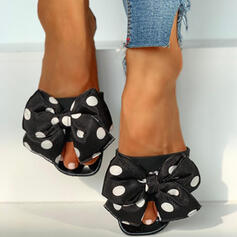 Women's PVC Low Heel Sandals Peep Toe Slippers With Bowknot shoes