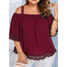 Solid Lace Cold Shoulder 3/4 Sleeves Casual Plus Size Blouses