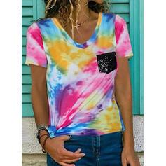 Tie Dye Dekolt w kształcie litery V Krótkie rękawy T-shirty
