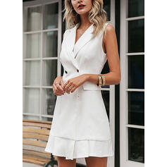 Solid Sleeveless Bodycon Above Knee Little Black/Casual/Elegant Dresses