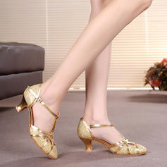 Women's Ballroom Heels Pumps Sparkling Glitter With T-Strap Ballroom