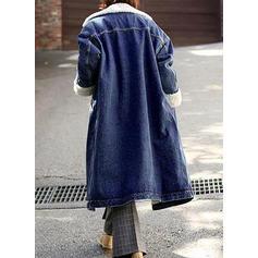 Cotton Long Sleeves Plain Denim Coats