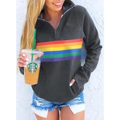 Color Block Lapel Long Sleeves Sweatshirt