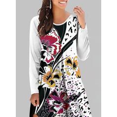 Impresión/Floral Manga Larga Vestidos sueltos Hasta la Rodilla Casual Túnica Vestidos