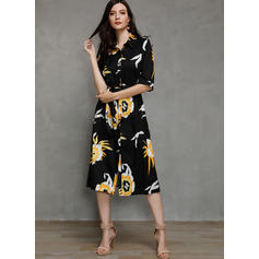 Print/Floral 1/2 Sleeves/Long Sleeves A-line Midi/Maxi Casual Shirt Dresses
