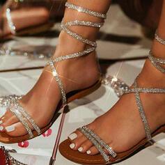 Жіночі ПУ Низька підошва Сандалі з Сіяючі камені В'язаний одяг взуття