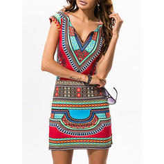 Print/Geometric Print Short Sleeves Sheath Above Knee Casual/Boho/Vacation Dresses