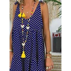 PolkaDot Sleeveless Shift Knee Length Casual/Vacation Dresses
