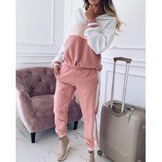 Hooded Long Sleeves Color Block Stylish Top & Pants Sets