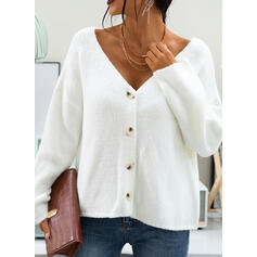 Solid Chunky knit V-Neck Casual Cardigan
