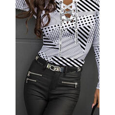 Print Striped PolkaDot Figure Round Neck Long Sleeves Casual Knit Blouses