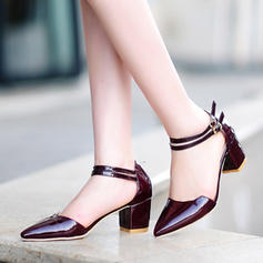 Women's Patent Leather Chunky Heel Sandals Pumps Closed Toe Mary Jane With Buckle shoes