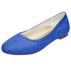 Women's Silk Like Satin Flat Heel Closed Toe Flats With Flower