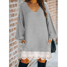 Lace/Solid Long Sleeves Shift Knee Length Casual Sweater Dresses
