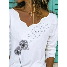 Print Dandelion V-Neck Long Sleeves Casual Blouses