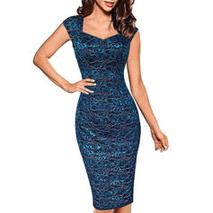 Lace Sleeveless Bodycon Knee Length Casual/Party Dresses