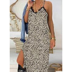 Lace/Print Sleeveless Shift Casual/Vacation Maxi Dresses