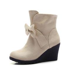 Femmes Suède Talon compensé Escarpins Bout fermé Compensée Bottes Bottines avec Bowknot chaussures