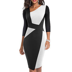Color Block/Patchwork 3/4 Sleeves Bodycon Knee Length Casual Dresses