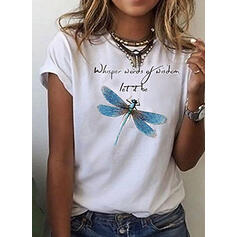 Print Round Neck Short Sleeves Casual T-shirts