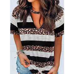 Print Striped Leopard V-Neck Short Sleeves Casual Blouses