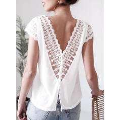 Solid V-Neck Short Sleeves Casual Sexy Blouses