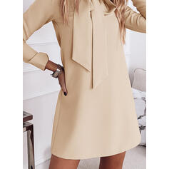 Solid Long Sleeves Shift Above Knee Elegant Tunic Dresses