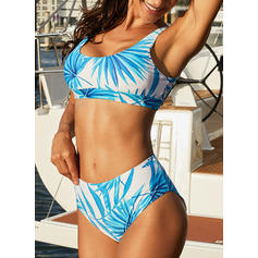 Splice color Tropical Print Strap Sexy Bikinis Swimsuits