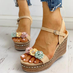 Women's Suede Wedge Heel Sandals Peep Toe With Buckle Flower shoes