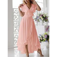 Einfarbig Kurze Ärmel A-Linien Asymmetrisch Elegant Bolero/Skater Kleider