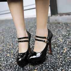 Patent Leather Stiletto Heel Pumps Platform With Buckle shoes