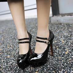 Lackleder Stöckel Absatz Absatzschuhe Plateauschuh mit Schnalle Schuhe