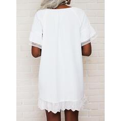 Jednolity Krótkie rękawy Suknie shift Nad kolana Nieformalny Tunika Sukienki