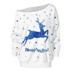 Motif Animal Figure One Shoulder Manches longues Sweat de Noël