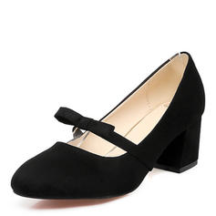 Women's Suede Chunky Heel Pumps Closed Toe Mary Jane With Bowknot shoes