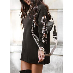 Sequins/Solid Long Sleeves Shift Above Knee Casual Sweater Dresses