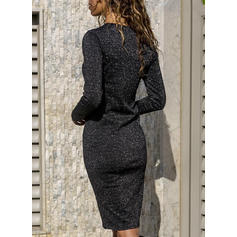 Sequins Long Sleeves Bodycon Knee Length Casual Dresses