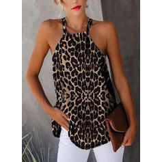 Leopard Round Neck Sleeveless Casual Tank Tops